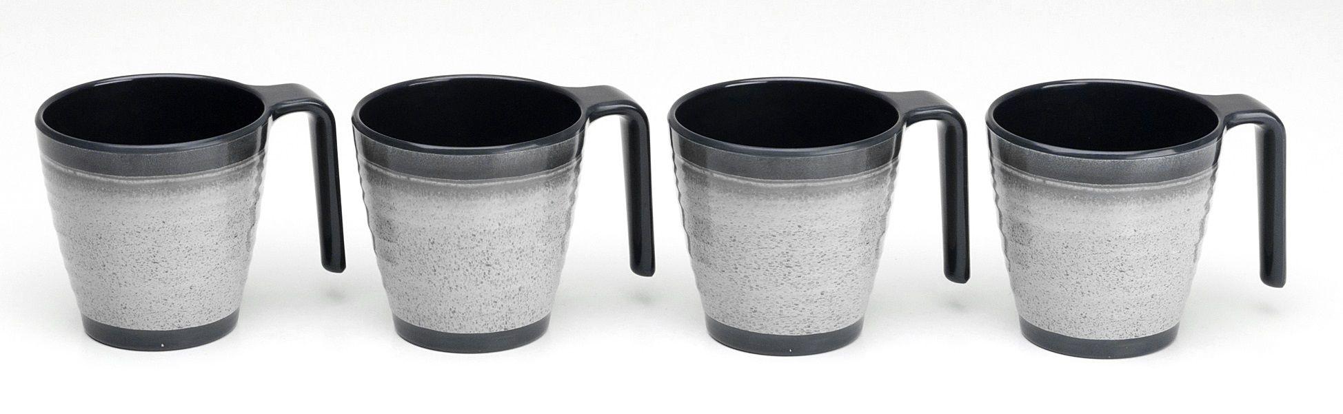 cc00bbbac5d Flamefield Granite Grey Stacking Mugs x4 - Premium Melamine (Plastic ...