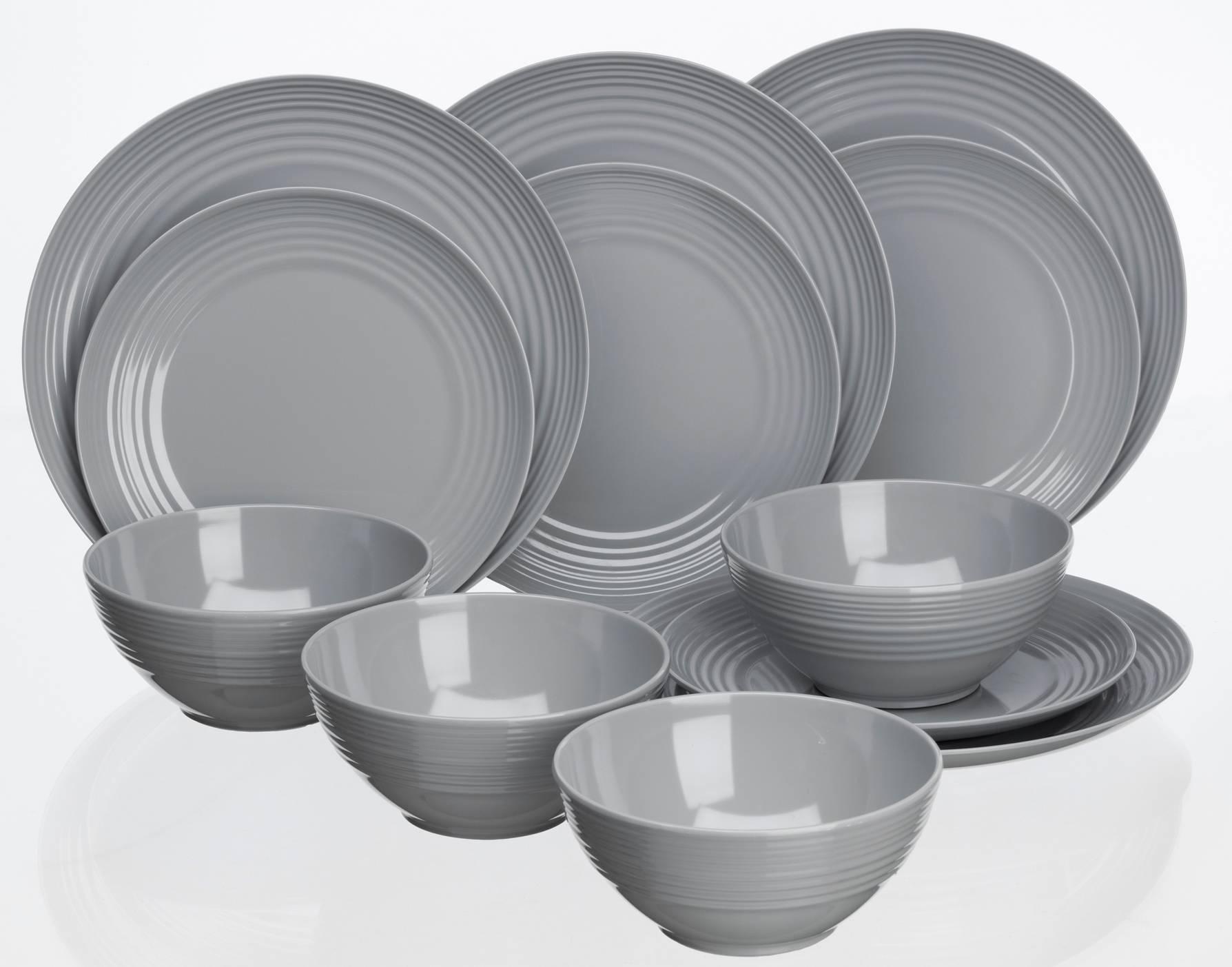 Flamefield Non Slip 12 piece Dinner Set Cool Grey Plastic Melamine